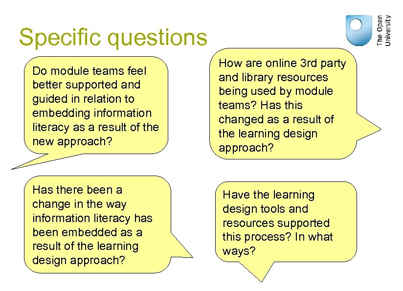Specific questions Do module teams feel better supported and guided in relation to embedding