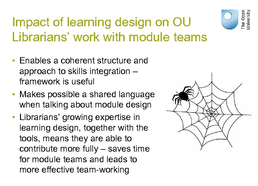 Impact of learning design on OU Librarians' work with module teams • Enables a