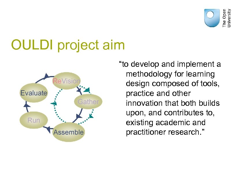 """OULDI project aim """"to develop and implement a methodology for learning design composed of"""