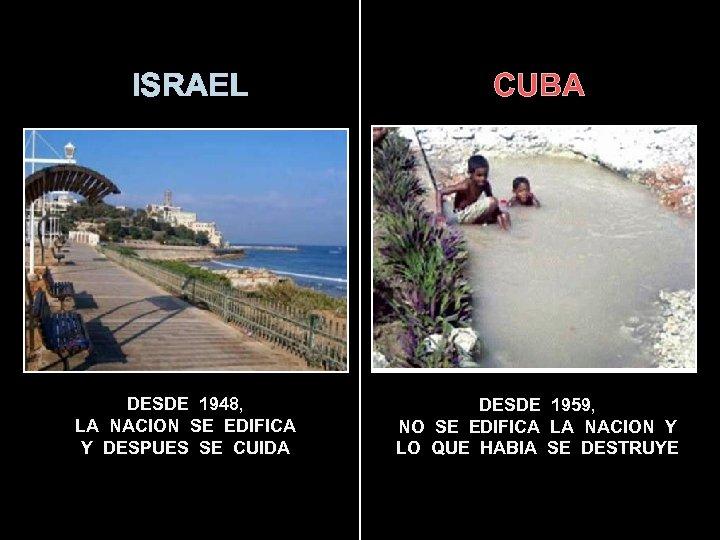 ISRAEL CUBA DESDE 1948, LA NACION SE EDIFICA Y DESPUES SE CUIDA DESDE 1959,