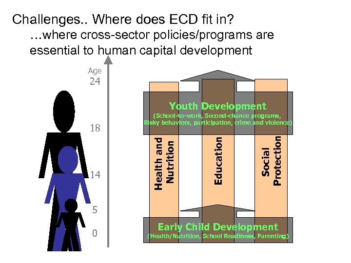 Challenges. . Where does ECD fit in? …where cross-sector policies/programs are essential to human