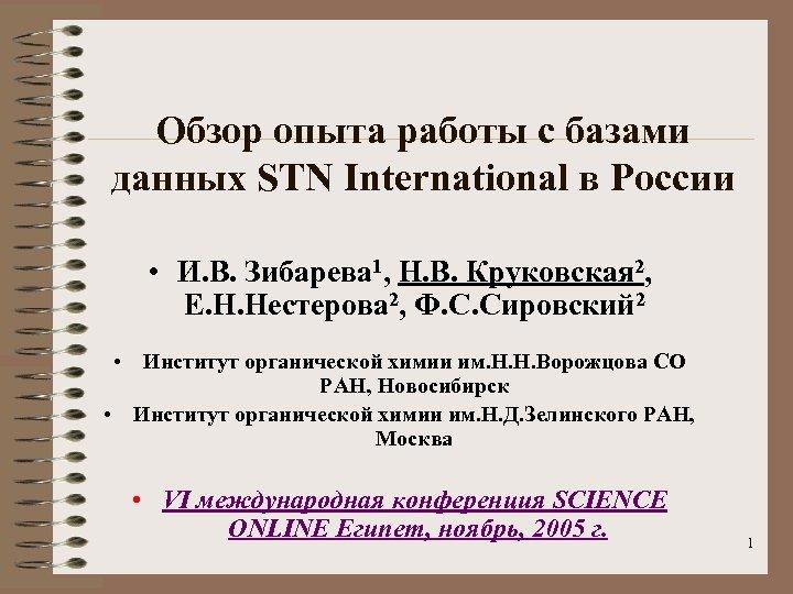 Обзор опыта работы с базами данных STN International в России • И. В. Зибарева