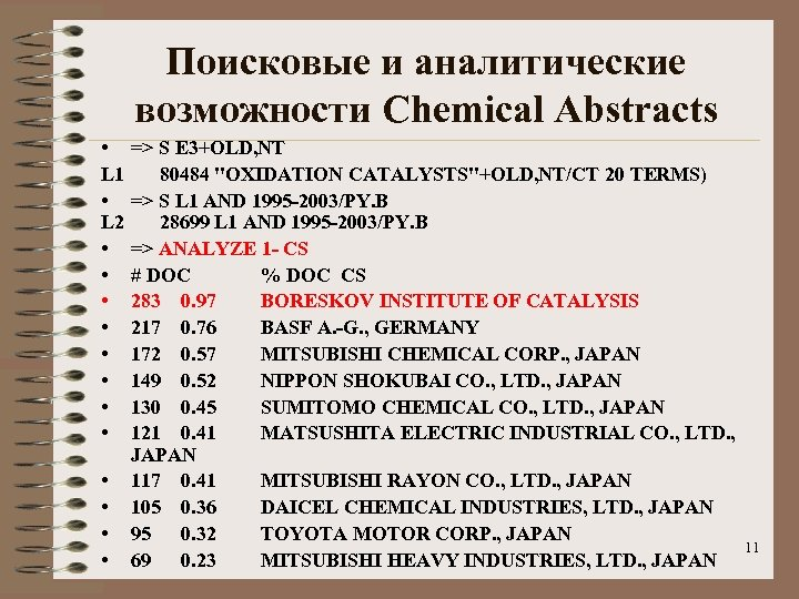Поисковые и аналитические возможности Chemical Abstracts • L 1 • L 2 • •