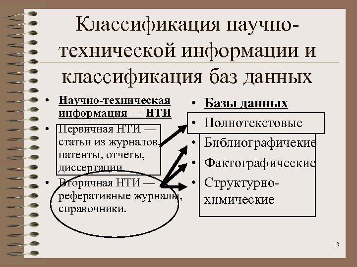 Классификация научнотехнической информации и классификация баз данных • Научно-техническая информация — НТИ • Первичная