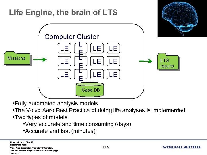Life Engine, the brain of LTS Missions Computer Cluster L LE LE E L