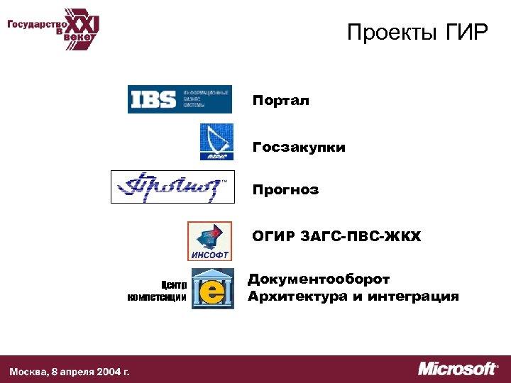 Проекты ГИР Портал Госзакупки Прогноз ОГИР ЗАГС-ПВС-ЖКХ Центр компетенции Документооборот Архитектура и интеграция