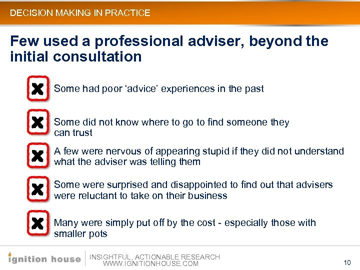 DECISION MAKING IN PRACTICE Few used a professional adviser, beyond the initial consultation Some