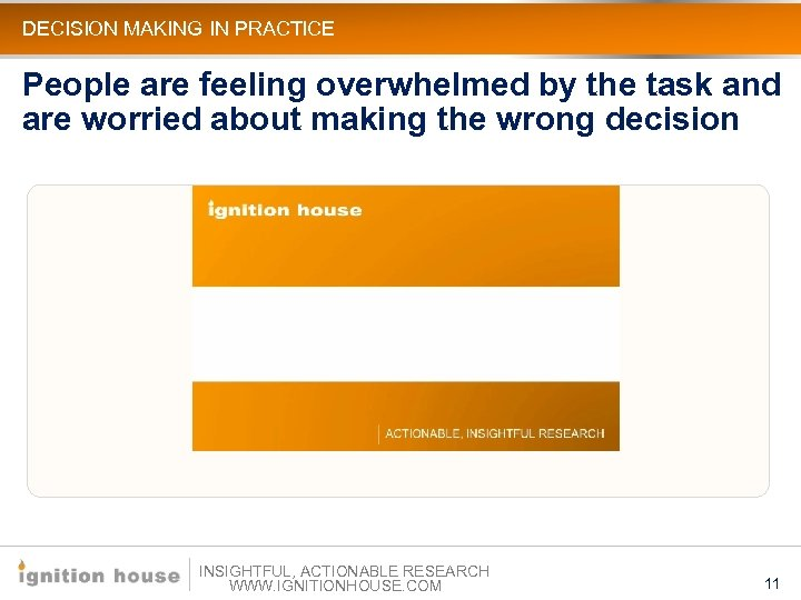 DECISION MAKING IN PRACTICE People are feeling overwhelmed by the task and are worried