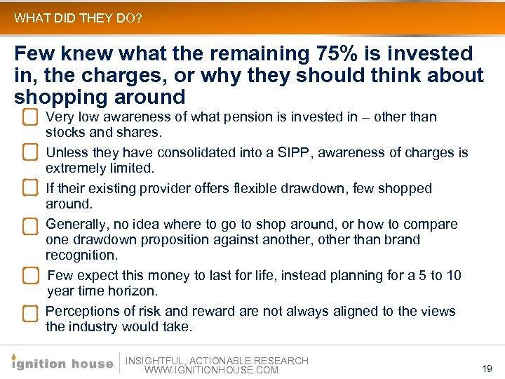 WHAT DID THEY DO? Few knew what the remaining 75% is invested in, the