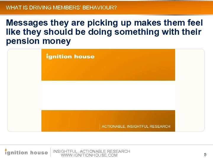 WHAT IS DRIVING MEMBERS' BEHAVIOUR? Messages they are picking up makes them feel like
