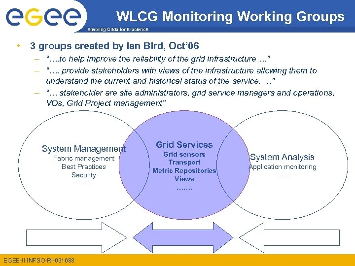 WLCG Monitoring Working Groups Enabling Grids for E-scienc. E • 3 groups created by
