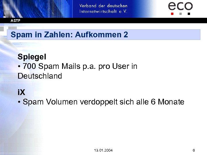ASTF Spam in Zahlen: Aufkommen 2 Spiegel • 700 Spam Mails p. a. pro