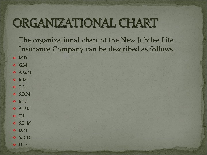 ORGANIZATIONAL CHART The organizational chart of the New Jubilee Life Insurance Company can be