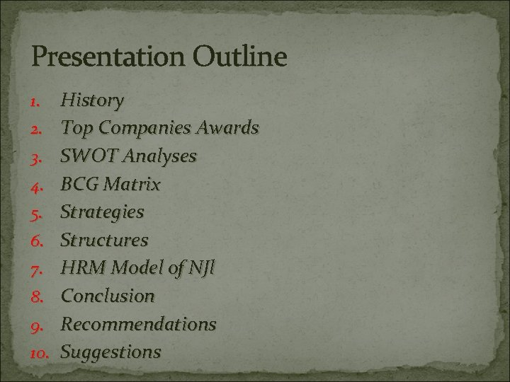 Presentation Outline 1. 2. 3. 4. 5. 6. 7. 8. 9. 10. History Top