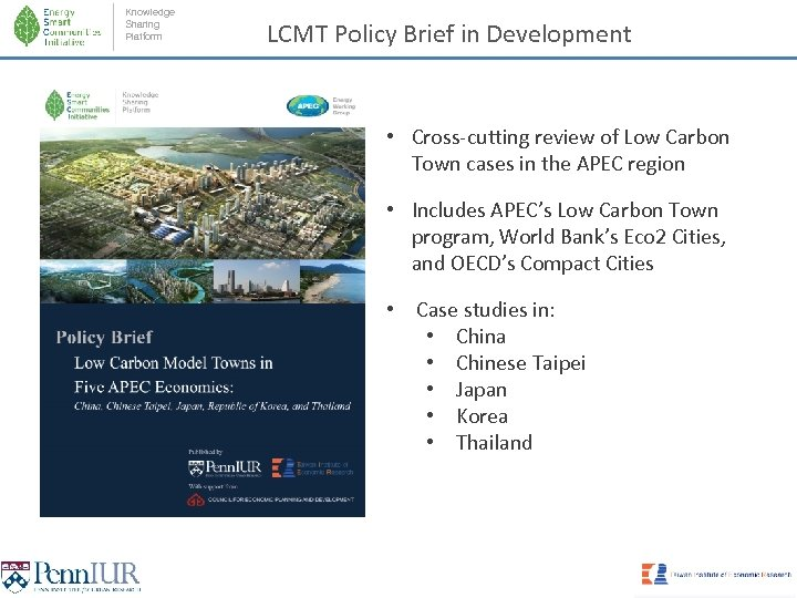 Knowledge Sharing Platform LCMT Policy Brief in Development • Cross-cutting review of Low Carbon
