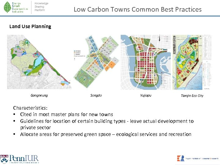 Knowledge Sharing Platform Low Carbon Towns Common Best Practices Land Use Planning Gangneung Songdo