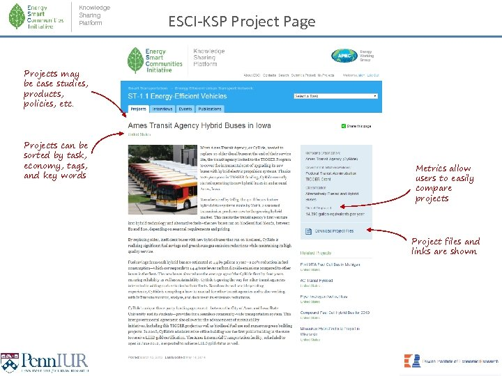 Knowledge Sharing Platform ESCI-KSP Project Page Projects may be case studies, products, policies, etc.