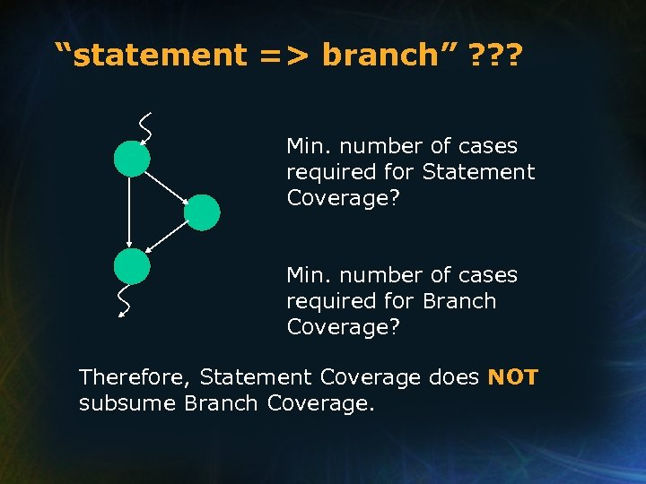 """""""statement => branch"""" ? ? ? Min. number of cases required for Statement Coverage?"""