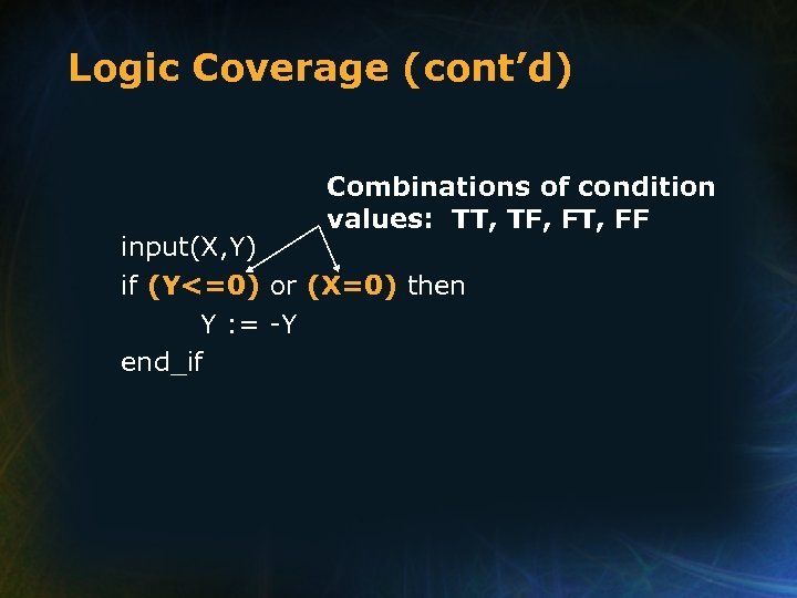 Logic Coverage (cont'd) Combinations of condition values: TT, TF, FT, FF input(X, Y) if