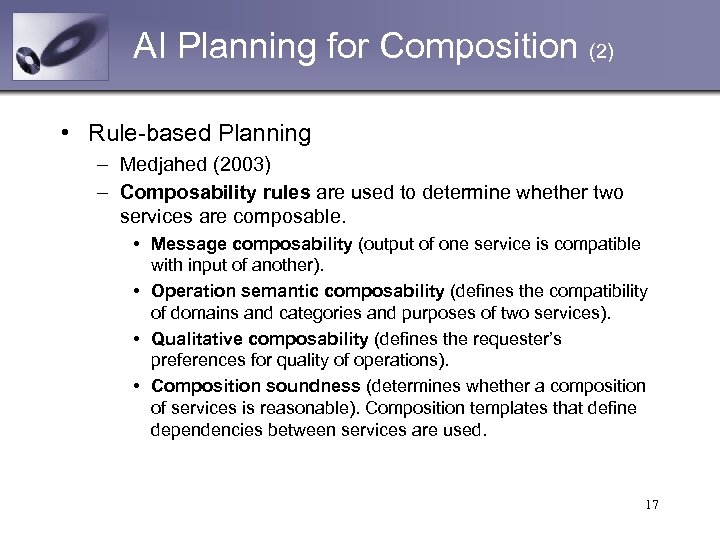 AI Planning for Composition (2) • Rule-based Planning – Medjahed (2003) – Composability rules