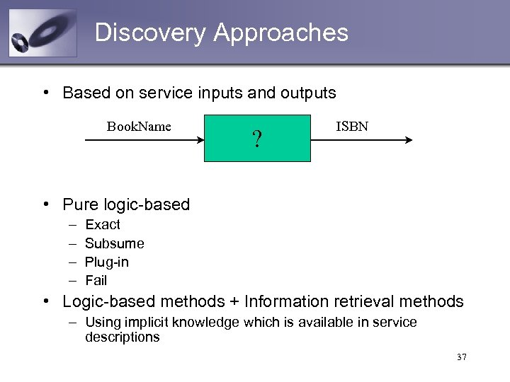 Discovery Approaches • Based on service inputs and outputs Book. Name ? ISBN •