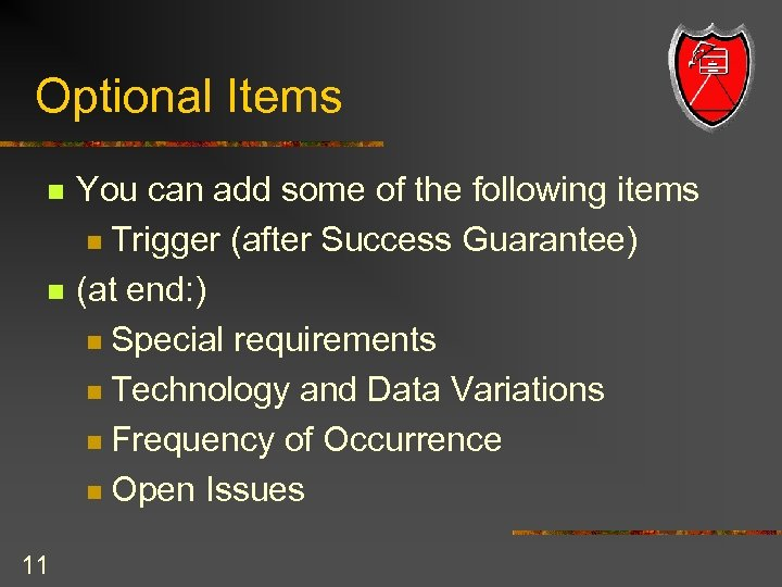 Optional Items n n 11 You can add some of the following items n