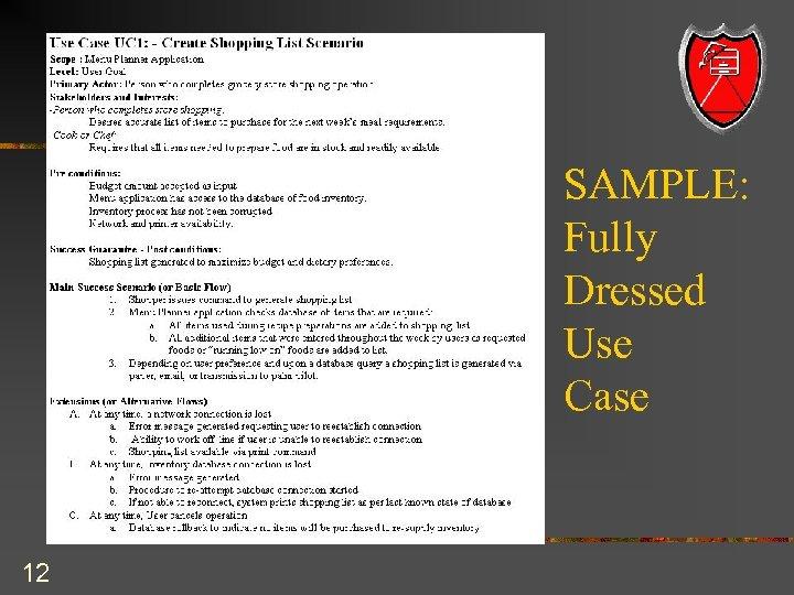 SAMPLE: Fully Dressed Use Case 12