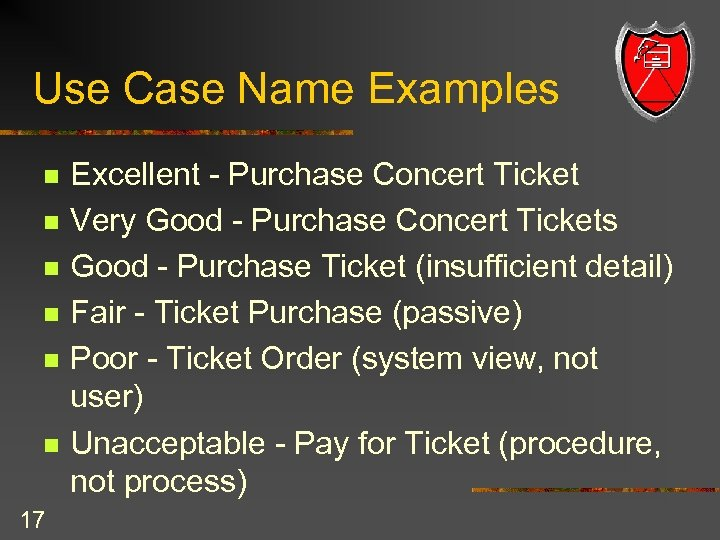 Use Case Name Examples n n n 17 Excellent - Purchase Concert Ticket Very