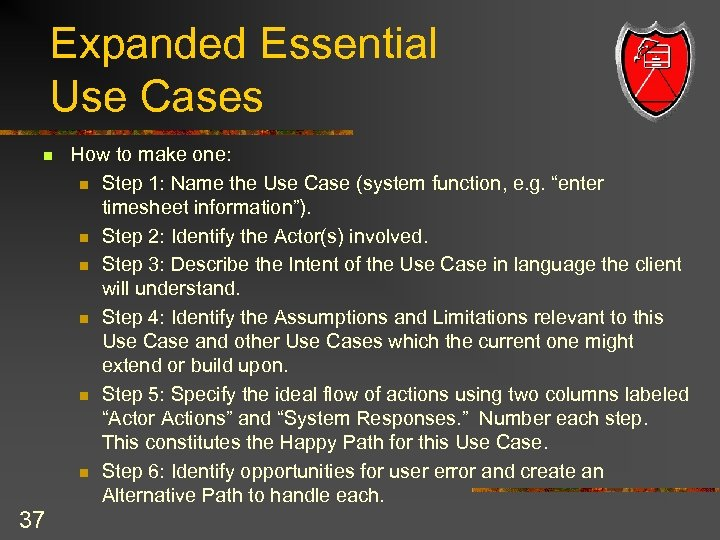 Expanded Essential Use Cases n 37 How to make one: n Step 1: Name