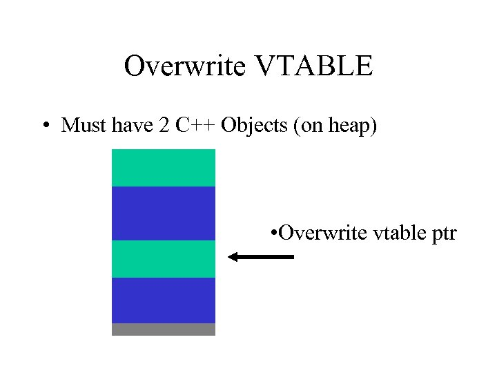 Overwrite VTABLE • Must have 2 C++ Objects (on heap) • Overwrite vtable ptr