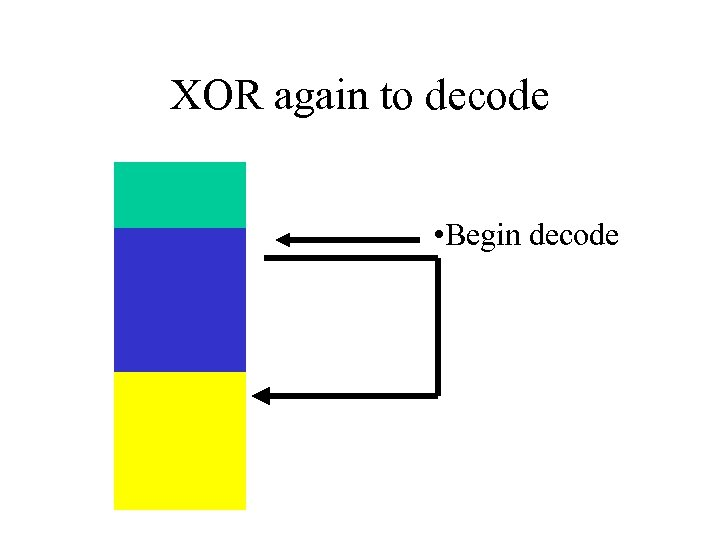 XOR again to decode • Begin decode