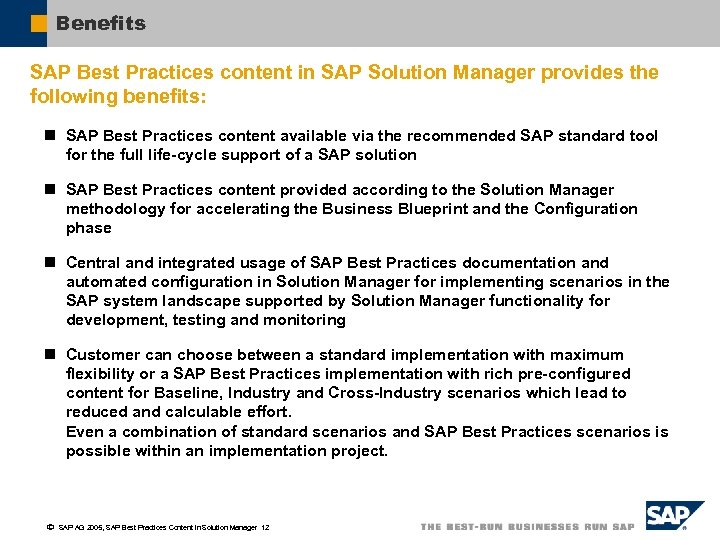 Sap best practices content for sap solution manager benefits sap best practices content in sap solution manager provides the following benefits n malvernweather Image collections