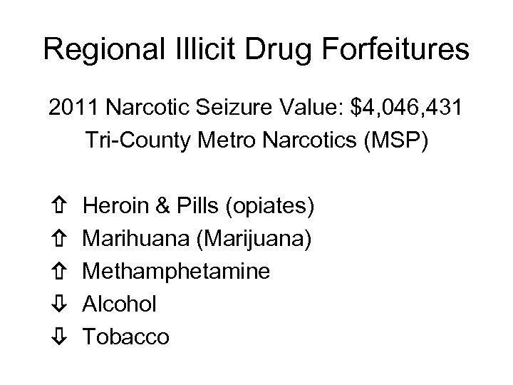 Regional Illicit Drug Forfeitures 2011 Narcotic Seizure Value: $4, 046, 431 Tri-County Metro Narcotics