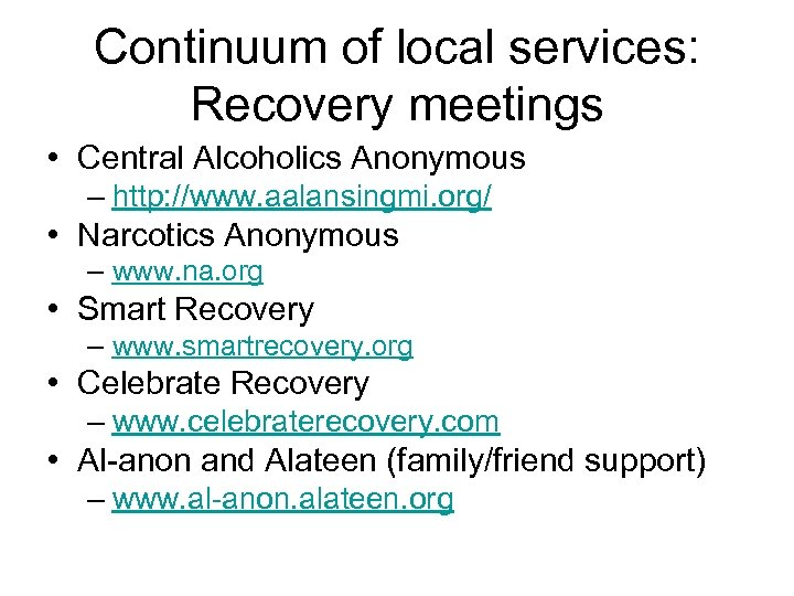 Continuum of local services: Recovery meetings • Central Alcoholics Anonymous – http: //www. aalansingmi.