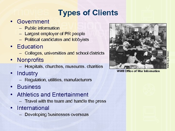 Types of Clients • Government – Public information – Largest employer of PR people
