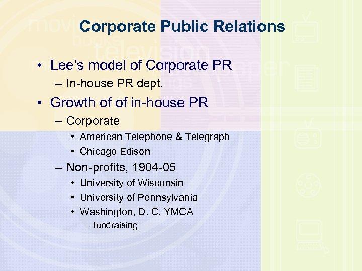 Corporate Public Relations • Lee's model of Corporate PR – In-house PR dept. •