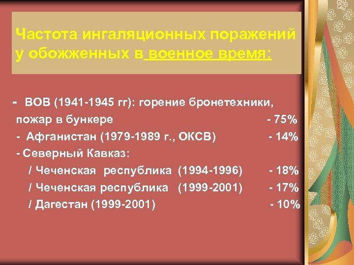 Частота ингаляционных поражений у обожженных в военное время: - ВОВ (1941 -1945 гг): горение