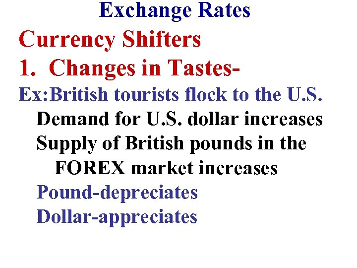 Exchange Rates Currency Shifters 1. Changes in Tastes. Ex: British tourists flock to the
