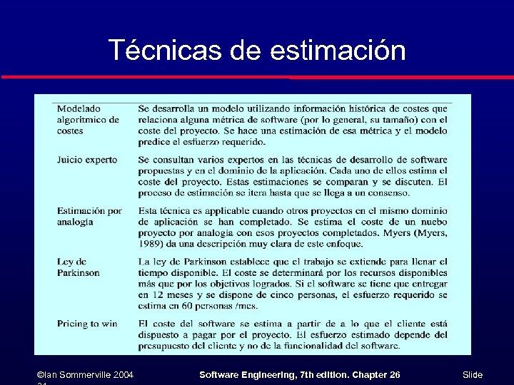 Técnicas de estimación ©Ian Sommerville 2004 Software Engineering, 7 th edition. Chapter 26 Slide