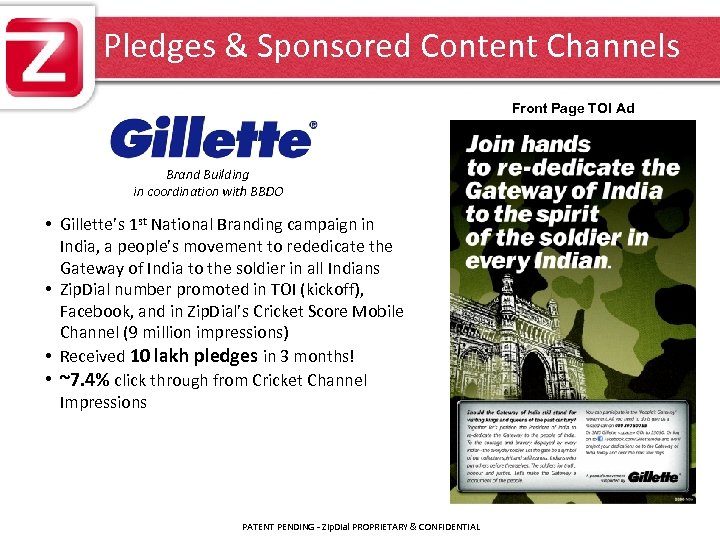 Pledges & Sponsored Content Channels Front Page TOI Ad Brand Building in coordination with