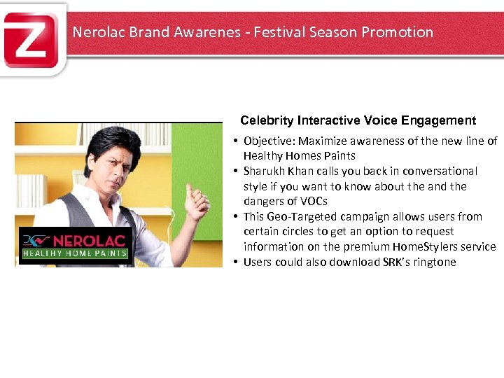 Nerolac Brand Awarenes - Festival Season Promotion Celebrity Interactive Voice Engagement • Objective: Maximize