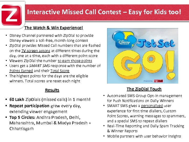 Interactive Missed Call Contest – Easy for Kids too! The Watch & Win Experience!