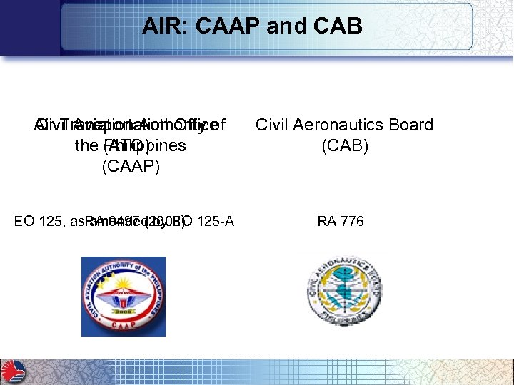 AIR: CAAP and CAB Air Transportation Office Civil Aviation Authority of the (ATO) Philippines