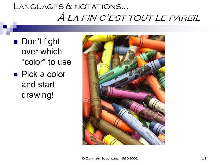 Languages & notations… À la fin c'est tout le pareil n n Don't fight