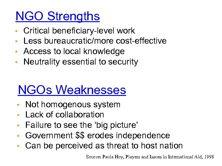 NGO Strengths Critical beneficiary-level work Less bureaucratic/more cost-effective Access to local knowledge Neutrality essential