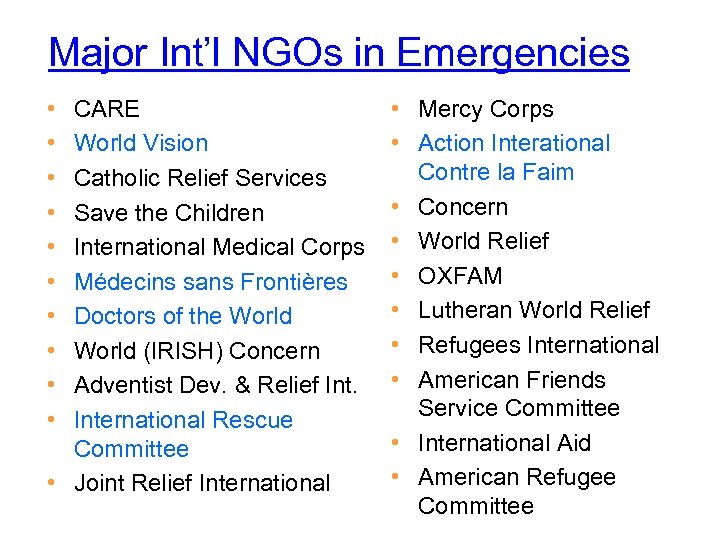 Major Int'l NGOs in Emergencies • • • CARE World Vision Catholic Relief Services
