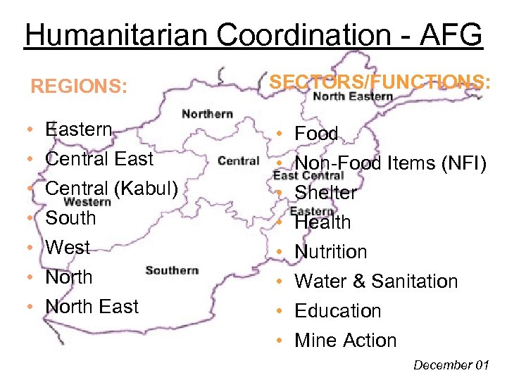 Humanitarian Coordination - AFG REGIONS: • • Eastern Central East Central (Kabul) South West