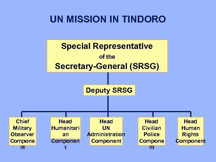 UN MISSION IN TINDORO Special Representative of the Secretary-General (SRSG) Deputy SRSG Chief Military
