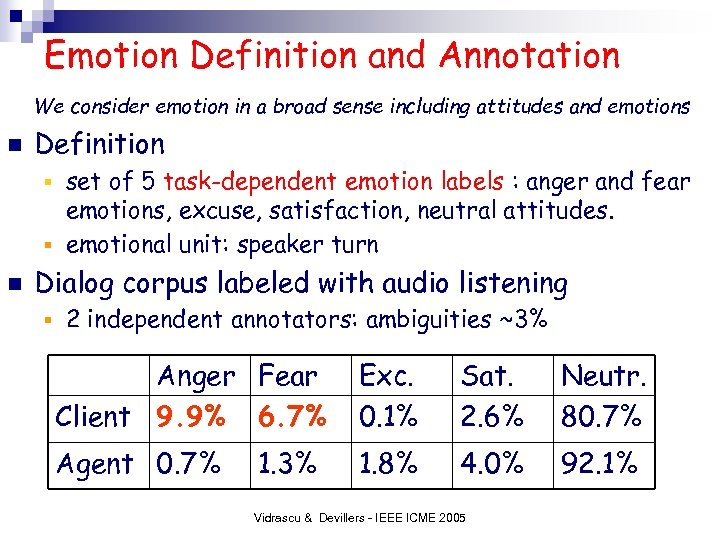 Emotion Definition and Annotation We consider emotion in a broad sense including attitudes and