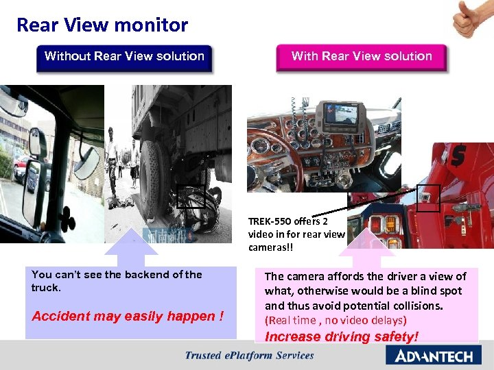 Rear View monitor Without Rear View solution With Rear View solution TREK-550 offers 2